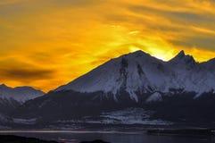 Orange Sky in Tierra del Fuego. An orange sky at sunset behind a mountain in Tierra del Fuego Stock Image