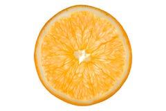 Orange slice. Orange translucent slice isolated on white; taken in macro Royalty Free Stock Photography