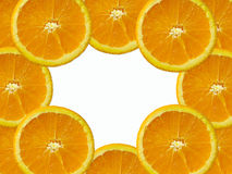 Orange slice. Fresh orange slice arranged as a frame with space for text Stock Image