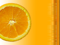 Orange slice. Fresh orange slice on an orange background with room for text Stock Photography