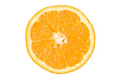 Orange slice. Half of orange isolated on white background with clipping path royalty free stock photos