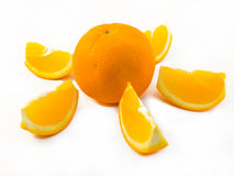 Orange with a slice. Isolated on white stock photography