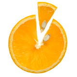 Orange a slice. Orange a circle with the cut out slice on a white background royalty free stock images