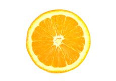 Orange slice. Slice of a fresh juicy orange on a white background royalty free stock photos