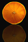 Orange slice on black background Royalty Free Stock Photos
