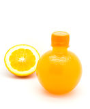 Orange slice and a bottle of fresh orange juice Stock Photography