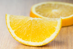 Orange slice closeup Stock Photos