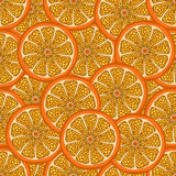 Orange slice in a cut, seamless pattern, fruit background. Painted citrus, graphic art, cartoon. For the design of the fabric, pri. Nt, wallpaper, wrapping Stock Photos