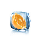 Orange slice in Ice cube Stock Images