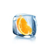 Orange slice in Ice cube Royalty Free Stock Photo