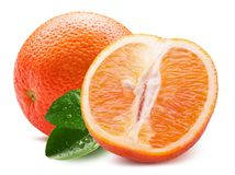Orange with slice isolated on a white background Stock Images