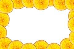 Orange slice isolated on white background back lighted as frame Stock Photos