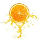 Orange slice. Slice of orange juice with splashes Royalty Free Stock Images