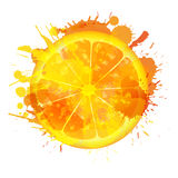 Orange slice made of colorful splashes Royalty Free Stock Photo