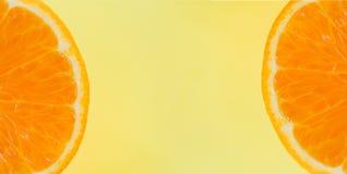 Free Orange Slice On Yellow Background - Close Up Of Fresh Orange Fruit , Top View Macro Fruit Royalty Free Stock Image - 154077456
