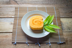 Orange slice roll cake  and coffee Royalty Free Stock Photo