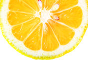 Orange slice with seeds closeup Stock Photography