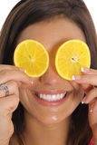 Orange slice smile vertical. Shot of an orange slice smile vertical Royalty Free Stock Images