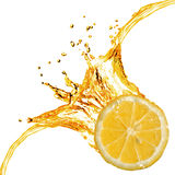 Orange slice and splash of juice Royalty Free Stock Images