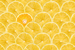 Orange Slice Stand Out Of Yellow Lemon Slices Stock Photo