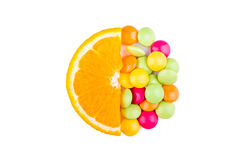 Orange slice with vitamins Royalty Free Stock Images