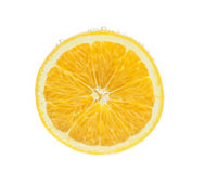 Orange slice in water with bubbles Royalty Free Stock Photo