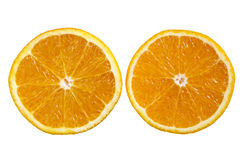 An orange sliced in half. Royalty Free Stock Image