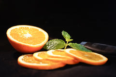 Orange Sliced with Mint Royalty Free Stock Photo