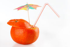 Orange sliced open with straw to drink Stock Photo