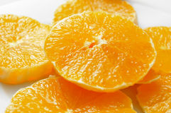 Orange slices. Closeup of some slices of orange in a plate Royalty Free Stock Photography