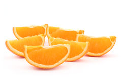 Orange slices. Juicy orange slices isolated on white stock image