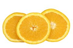 Orange Slices. Three orange slices on white background Stock Photos