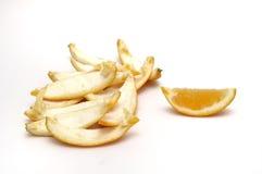 Orange slices. Empty orange slices and oranges skin. isolated Royalty Free Stock Images