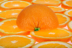 Orange slices background. Slices of fresh oranges background stock photos
