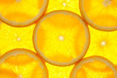 Orange slices background / macro / back lit Stock Photos