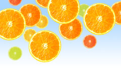 Orange slices on blue Royalty Free Stock Photography