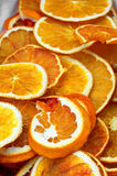 Orange slices. Dry slices of bright winter fruits - oranges Royalty Free Stock Photography
