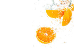 Orange. Slices falling deeply under water Royalty Free Stock Image