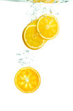 Orange slices falling in water Stock Photography