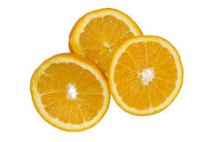 Orange slices. Fresh oranges slices isolated on white Royalty Free Stock Photos
