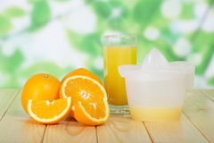 Orange slices, glass and juice extractor Stock Photo