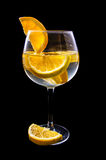 Orange slices on a glass on wine with dark Stock Photography