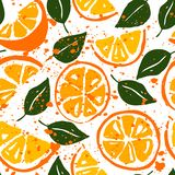 Watercolor seamless vector pattern with oranges royalty free illustration