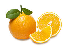 Orange with slices  isolated on white background. Clipping path. Stock Photography