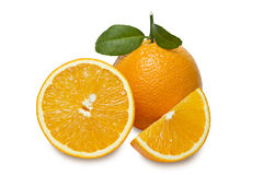 Orange with slices  isolated on white background. Clipping path. Stock Image