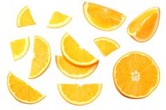 Orange with slices isolated on white background. healthy food. top view royalty free stock photo