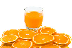 Orange slices and juice Royalty Free Stock Image