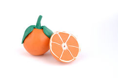 Orange slices of juicy plasticine oranges Stock Images