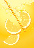 Orange slices in lemonade splash Royalty Free Stock Photos