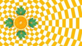 Orange slices on orange and white pattern color background Stock Images